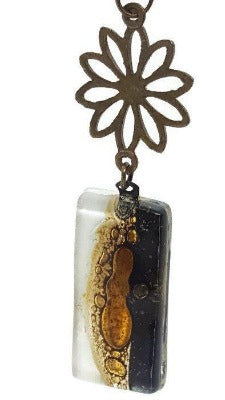 Rectangular Black white and brown long recycled Glass pendant. Long necklace. Neutral colors.