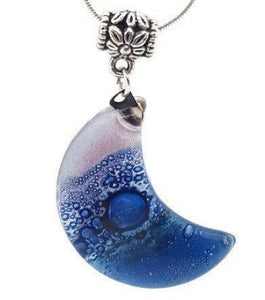 Lilac and Blue Moon shape Recycled Glass pendant. Fused Glass Necklace.