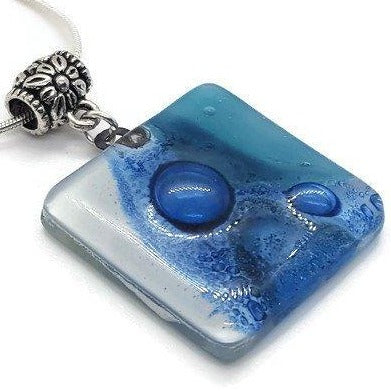 Teal, Blue and White Fused Glass square Pendant. Recycled Glass Necklace - Handmade Recycled Glass Jewelry