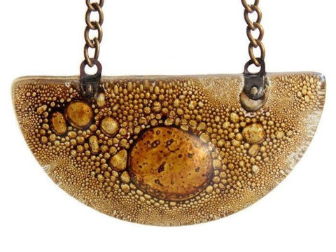 Brown Caramel color HalfMoon shaped pendant made of recycled fused glass - Handmade Recycled Glass Jewelry