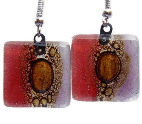 Red, lilac and Brown Square Fused Glass Drop Earrings- Recycled Glass Dangle Earrings - Handmade Recycled Glass Jewelry