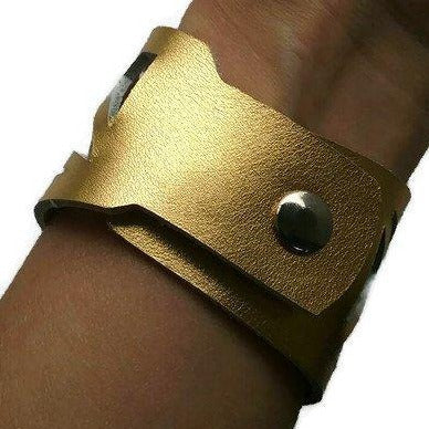 Barcelona Reclaimed Leather cuff. Leather wristband, Leather cuff Bracelet. Golden - Handmade Recycled Glass Jewelry