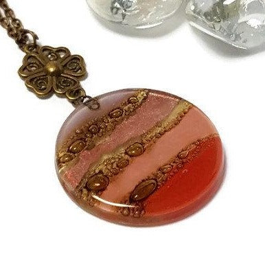 Long Pendant. Brown, Pink, Lilac and red long necklace. Round Recycled Glass Handmade pendant