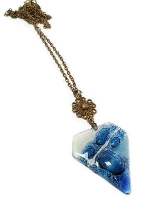 Fused Glass Pendant. Handmade Recycled Glass bead Necklace. Blue long Necklace - Handmade Recycled Glass Jewelry