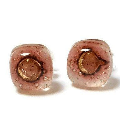 Small Post pink and brown Earrings. Fused Glass Studs. Recycled Glass jewelry. Stud earrings - Handmade Recycled Glass Jewelry