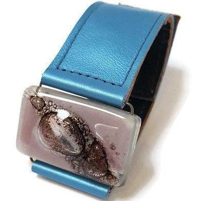 Recycled Fused Glass and Reclaimed Metallic Baby blue Leather bracelet. Cuff Lilac Handmade Bead.