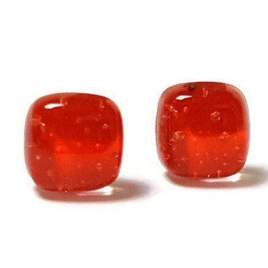 Small Post red Earrings. Fused Glass Studs. Recycled Glass jewelry. Stud earrings - Handmade Recycled Glass Jewelry