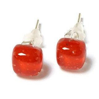 Small Post red Earrings. Fused Glass Studs. Recycled Glass jewelry. Stud earrings