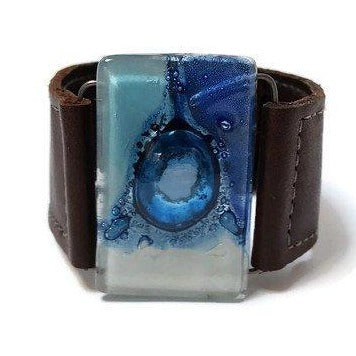 Recycled Fused blue Glass and Brown Reclaimed Leather bracelet. Cuff. Glass Jewelry - Handmade Recycled Glass Jewelry