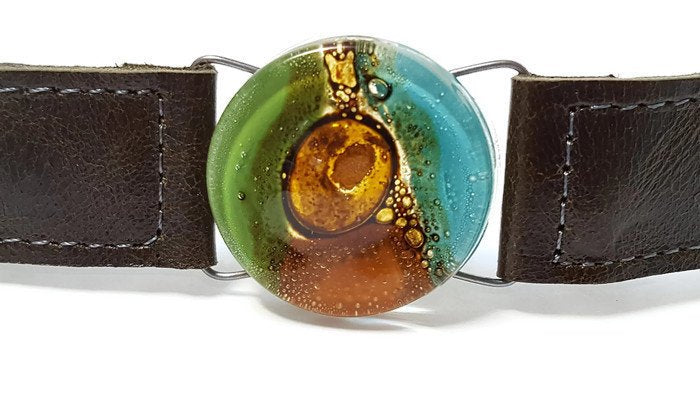 Glass and dark green leather cuff. Wristband! Recycled fused glass Jewelry