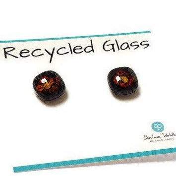 Post Earrings. Recycled glass Earrings. Black with yellow and red details Earrings Studs - Handmade Recycled Glass Jewelry