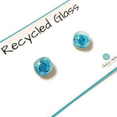 Post Earrings. Recycled glass Earrings. Green Earrings Studs, White and Aqua Small Studs - Handmade Recycled Glass Jewelry