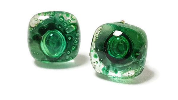 Post Earrings. Recycled glass Earrings. Green Earrings Studs - Handmade Recycled Glass Jewelry