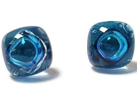 Post Earrings. Recycled glass Earrings. Blue Stud Earrings. Glass Jewlery - Handmade Recycled Glass Jewelry