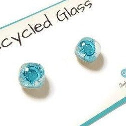 Small Post White and Turquoise Earrings. Fused Glass Studs. Recycled Glass jewelry. Stud earrings - Handmade Recycled Glass Jewelry
