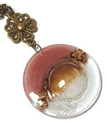 Pink, Brown and Clear pendant. Handmade Recycled Fused Glass Necklace. Long pendant.