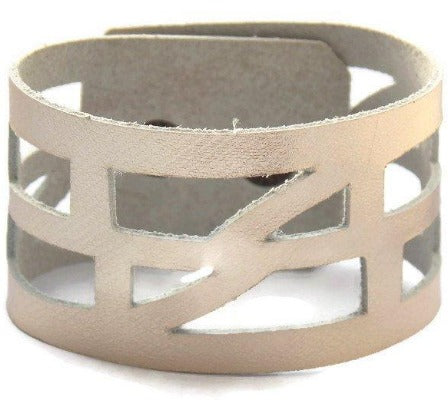 "Silver color Leather ""Self Empowering"" Cuff bracelet. Reclaimed Leather Band. - Handmade Recycled Glass Jewelry"