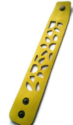 Yellow Sunflower leather wrist Band. Repurposed Leather Cuff Bracelet