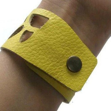 Yellow Sunflower leather wrist Band. Repurposed Leather Cuff Bracelet - Handmade Recycled Glass Jewelry