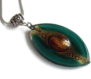 Glass Art. Recycled Glass Jewelry  Leave shapped Teal and Gold fused glass pendant. - Handmade Recycled Glass Jewelry