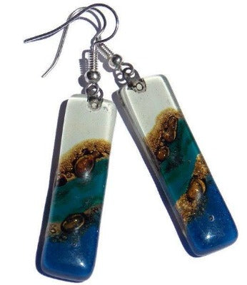 Long Blue Teal White and Brown Recycled Fused Glass Earrings - Handmade Recycled Glass Jewelry