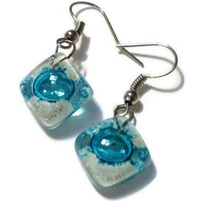 Small Turquoise and white Fused Glass Earrings. Recycled glass small square earrings - Handmade Recycled Glass Jewelry