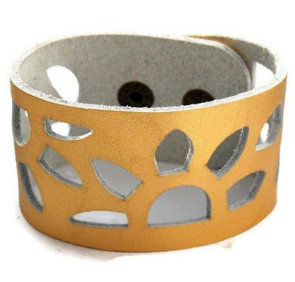 "Gold Color Reclaimed Leather Cuff Bracelet. Golden ""Sunflowers"" Leather Band"