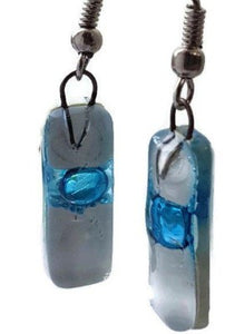 Small White and Turquoise Fused Glass Earrings - Handmade Recycled Glass Jewelry