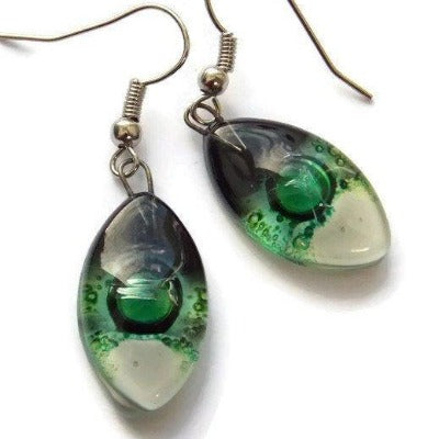 Leaf shape Green White and Black Fused Glass Earrings. Recycled Glass drop Earrings