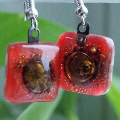 Small square red and Brown recycled glass drop earrings - Handmade Recycled Glass Jewelry
