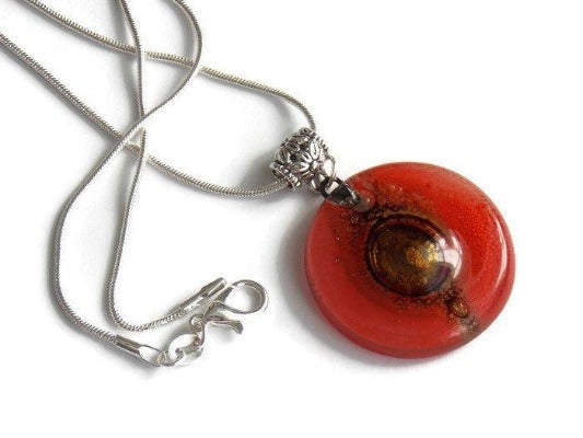 Glass pendant RED round Fused Glass Pendant. Recycled Fused Glass Necklace