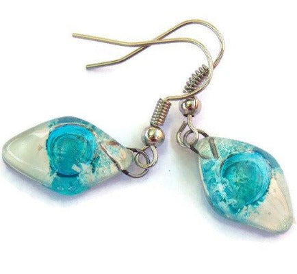 Small Diamond Shaped white and Turquoise Recycled Fused Glass Earrings - Handmade Recycled Glass Jewelry