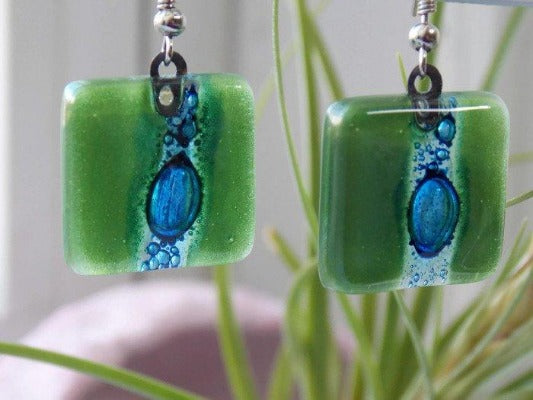 Blue and Green Recycled fused glass square Earrings - Handmade Recycled Glass Jewelry