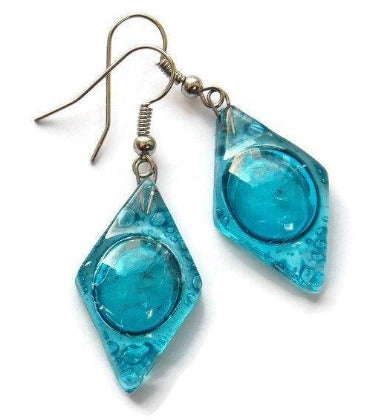 Aqua, turquoise diamond shaped recycled fused Glass Earrings. Glass drop Earrings. - Handmade Recycled Glass Jewelry