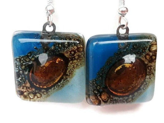 Blue, Baby Blue and Brown fused Glass Earrings. Recycled Glass dangle Earrings. Drop Earrings - Handmade Recycled Glass Jewelry