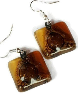 Earthy tones, White, beige, terracota  and Brown Square Fused Glass earrings. - Handmade Recycled Glass Jewelry