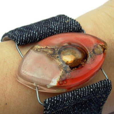 Red, pink and  Brown Fused Glass and reclaimed Demin Cuff. Vegan Bracelet. - Handmade Recycled Glass Jewelry