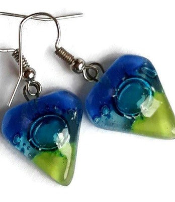 Blue, Turquoise and Green heart shape Fused Glass Drop Earrings. Recycled Glass Dangle Earrings - Handmade Recycled Glass Jewelry