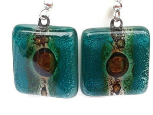 Teal and Brown Square Fused Glass earrings. Drop Earrings. Recycled Glass Dangle Earrings - Handmade Recycled Glass Jewelry