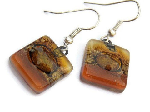 Earthy Tones small square Fused Glass Earrings. Beige, white, brown Recycled glass earrings - Handmade Recycled Glass Jewelry