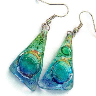 Glass dangle earrings. Green Tuerquoise and Blue, Triangles Recycled Fused Glass Earrings