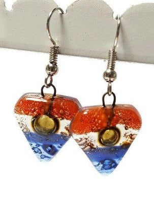 Blue, brown, and Orange handmade recycled Fused glass beads, Small Drop earrings, Dangle earrings - Handmade Recycled Glass Jewelry