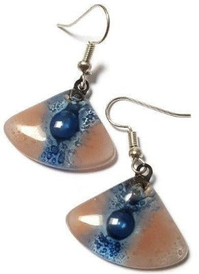Handmade fused glass drop earrings, Pink and Blue fan shape Recycled dangle earrings.