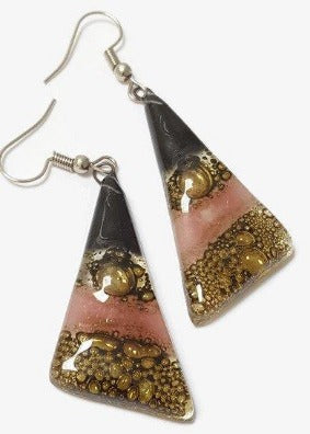 Black, Brown and Pink Triangle Earrings with Long drop Earrings. - Handmade Recycled Glass Jewelry