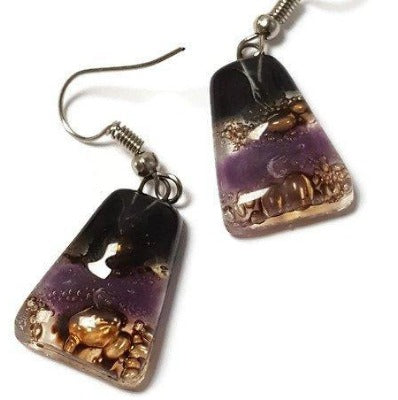 Lilac, Black, Brown and Turquoise Fused Glass dangle Earring.Handmade Drop Earrings. - Handmade Recycled Glass Jewelry