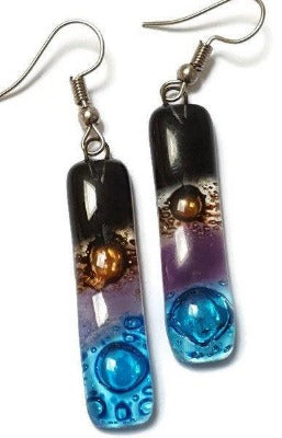 Recycled Fused Glass Drop  Earrings. Black, turquoise, lilac and  brown Dangle Earrings.