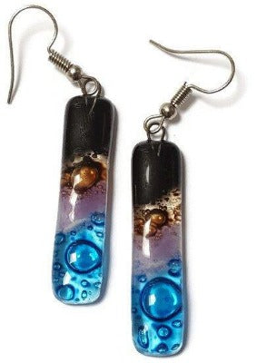 Recycled Fused Glass Drop  Earrings. Black, turquoise, lilac and  brown Dangle Earrings. - Handmade Recycled Glass Jewelry