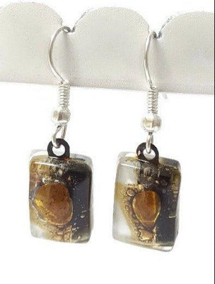 Black, white and Brown bars, Recycled Glass Drop earrings. Fused Glass Dangle Earrings. - Handmade Recycled Glass Jewelry
