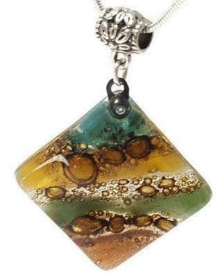 Multicolor Recycled Fused Glass Necklace Green, Teal Beige, teracotta & Brown..! - Handmade Recycled Glass Jewelry