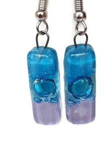 Blue, Turquoise and pink small bars. Recycled FUsed Glass Dangle Earrings . Drop Earrings - Handmade Recycled Glass Jewelry